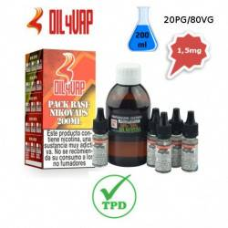 Pack Base para Vapear OIL4VAP 200ml 20PG/80VG 1,5mg/ml